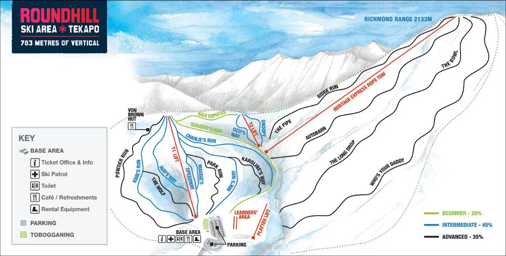 Trail Map - Roundhill Ski Area - Tekapo on